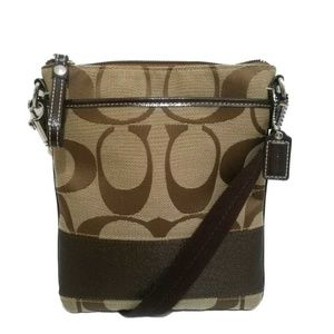 COACH Signature Jacquard Brown & Khaki Swingback